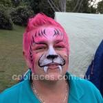 face painting for adults - pink tiger at Neurum Creek Bush Retreat